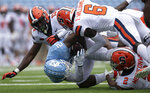North Carolina's Dyami Brown (2) is stopped at the goal line after a 15-yard pass completion from quarterback Sam Howell in the third quarter of an NCAA college football game against Syracuse,  Saturday, Sept. 12, 2020, in Chapel Hill, N.C. (Robert Willett/The News & Observer via AP, Pool)