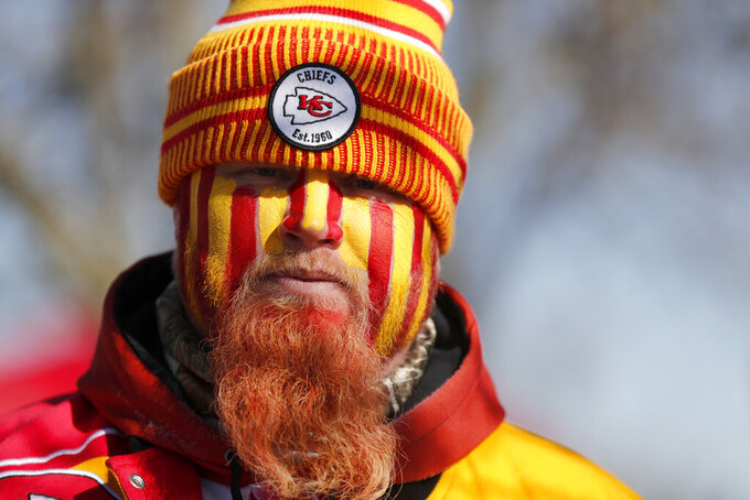 J.R. Channell is seen outside Arrowhead Stadium before the NFL AFC Championship football game between the Kansas City Chiefs and the Tennessee Titans Sunday, Jan. 19, 2020, in Kansas City, MO. (AP Photo/Jeff Roberson)