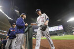 Houston Astros starting pitcher Zack Greinke (21) walks off the field after being removed during the ninth inning of the team's baseball game against the Seattle Mariners on Wednesday, Sept. 25, 2019, in Seattle. The Astros won 3-0. (AP Photo/Elaine Thompson)