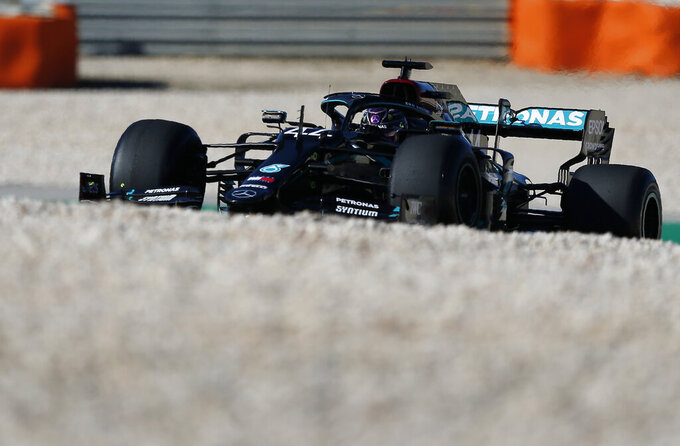 Mercedes driver Lewis Hamilton of Britain steers his car during the second practice session for the Formula One Portuguese Grand Prix at the Algarve International Circuit in Portimao, Portugal, Friday, Oct. 23, 2020. The Formula One Portuguese Grand Prix will take place on Sunday. (Rafael Marchante, Pool via AP)