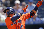 Houston Astros' Yuli Gurriel hits a solo home run during the second inning of a baseball game against the Kansas City Royals, Sunday, Sept. 15, 2019, in Kansas City, Mo. (AP Photo/Charlie Riedel)