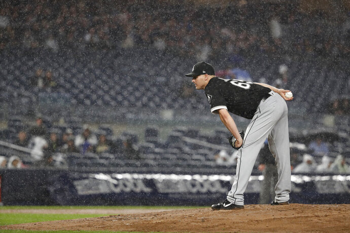 Chicago White Sox relief pitcher Nate Jones stands on the mound during the sixth inning of a baseball game against the New York Yankees on Friday, April 12, 2019, in New York. (AP Photo/Michael Owens)