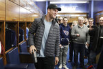 Tennessee Titans quarterback Ryan Tannehill leaves the locker room as players clean out their lockers Monday, Jan. 20, 2020, in Nashville, Tenn. The Titans lost the AFC Championship NFL football game Sunday to the Kansas City Chiefs. (AP Photo/Mark Humphrey)