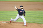 Boston Red Sox pitcher Nathan Eovaldi throws during the first inning of a baseball game against the Miami Marlins, Thursday, Sept. 17, 2020, in Miami. (AP Photo/Gaston De Cardenas)