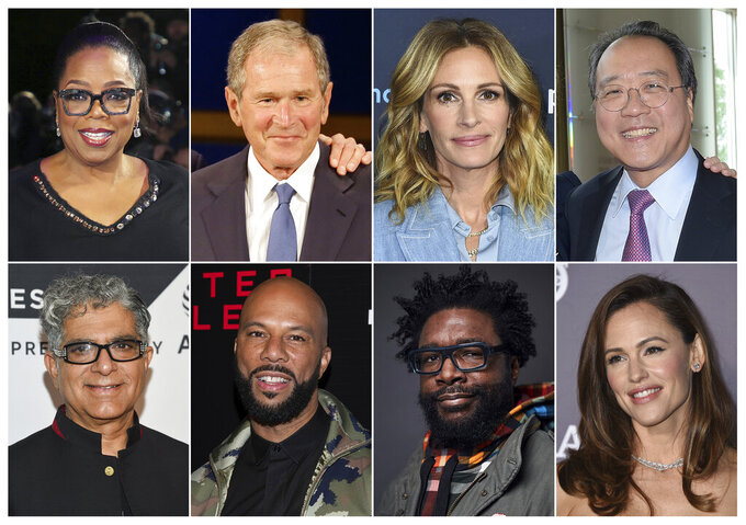 This combination photo shows, top row from left, media mogul Oprah Winfrey, former President George W. Bush, actress Julia Robert and musician Yo-Yo Ma, bottom row from left, guru Deepak Chopra, rapper Common, musician Questlove, and actress Jennifer Garner, who are among the participants in the 24-hour livestream event, The Call to Unite, beginning Friday, May 1 at 8 p.m. EDT. (AP Photo)