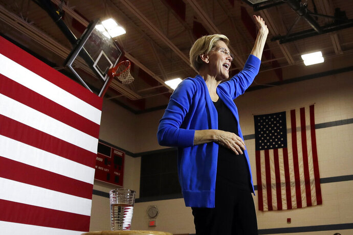 Democratic presidential candidate Sen. Elizabeth Warren, D-Mass., greets attendees at a campaign event, Tuesday, Oct. 29, 2019, in Laconia, N.H. (AP Photo/Elise Amendola)