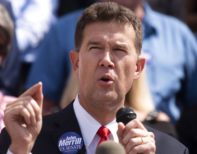 Alabama Secretary of State John Merrill announces that he is running for U.S. Senate during a news conference at the State Capital Building in Montgomery, Ala., on Tuesday June 25 , 2019. (Mickey Welsh/Montgomery Advertiser via AP)