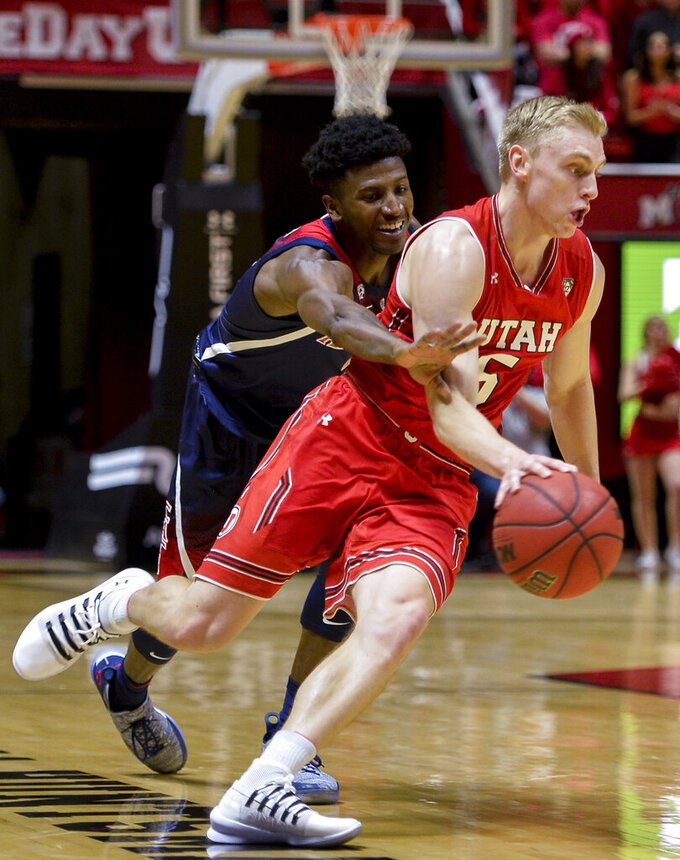 Arizona guard Dylan Smith, left, guards against Utah guard Parker Van Dyke, right, during the second half of an NCAA college basketball game Thursday, Feb. 14, 2019, in Salt Lake City. (AP Photo/Alex Goodlett)