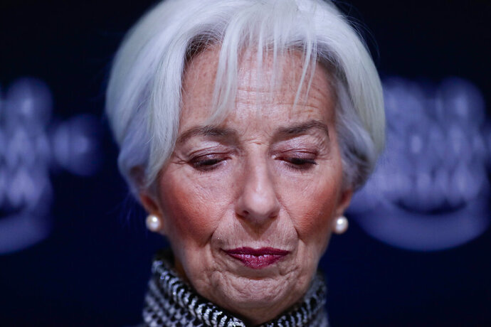 International Monetary Fund Managing Director Christine Lagarde briefs the media during a news conference at the annual meeting of the World Economic Forum, WEF, in Davos, Monday, Jan. 21, 2019. (AP Photo/Markus Schreiber)