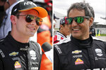 FILE - At left, in a May 2, 2021, filer photo, Pato O'Ward is interviewed on the grid before an IndyCar Series auto race at Texas Motor Speedway in Fort Worth, Texas. At right, in an April 8, 2021, file photo,  Juan Pablo Montoya smiles before testing at Indianapolis Motor Speedway in Indianapolis. There's something familiar about Pato O'Ward. He sure seems like the second coming of Juan Pablo Montoya. (AP Photo/File)