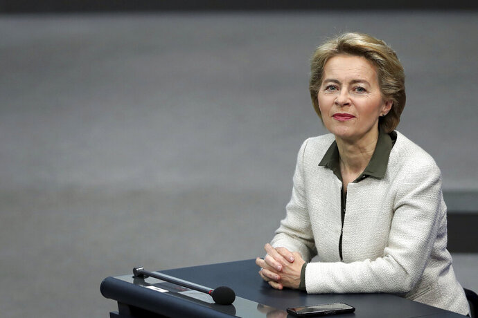 FILE-In this May 16, 2019 file photo German Defense Minister Ursula von der Leyen attends a debate on '70 Years German Constitution' of the German federal parliament, Bundestag, at the Reichstag building in Berlin. EU leaders reconvened Tuesday July 2, 2019, for a formal summit to consider a list of top job candidates that may have Ursula von der Leyen becoming president of the executive European Commission. (AP Photo/Michael Sohn, file)