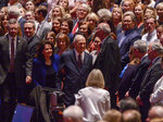 Honored guest, The Church of Jesus Christ of Latter-Day Saints president Russell M. Nelson, center, and his wife Wendy walk to their seats during the gala celebrating Nelson's 95th birthday at The Church of Jesus Christ of Latter-Day Saints Conference Center Friday, Sept. 6, 2019, in Salt Lake City. (Leah Hogsten/The Salt Lake Tribune via AP)