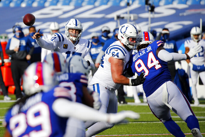 Indianapolis Colts quarterback Philip Rivers (17) throws a pass during the first half of an NFL wild-card playoff football game against the Buffalo Bills, Saturday, Jan. 9, 2021, in Orchard Park, N.Y. (AP Photo/Jeffrey T. Barnes)