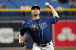 Tampa Bay Rays' Shane McClanahan pitches to the Baltimore Orioles during the first inning of a baseball game Thursday, Aug. 19, 2021, in St. Petersburg, Fla. (AP Photo/Chris O'Meara)