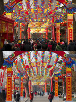 In this combination image of photos taken Feb. 6, 2019, top, and Jan. 25, 2020, bottom, people walk under a canopy of spinning fans for a Lunar New Year temple fair that was held in 2019 and canceled in 2020. China's most festive holiday began in 2020 in the shadow of a worrying new virus as the death toll surpassed 40, an unprecedented lockdown kept 36 million people from traveling and authorities canceled a host of Lunar New Year events. (AP Photo/Mark Schiefelbein)