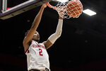 Stanford guard Bryce Wills (2) dunks against Washington State during the first half of an NCAA college basketball game Saturday, Jan. 11, 2020, in Stanford, Calif. (AP Photo/John Hefti)