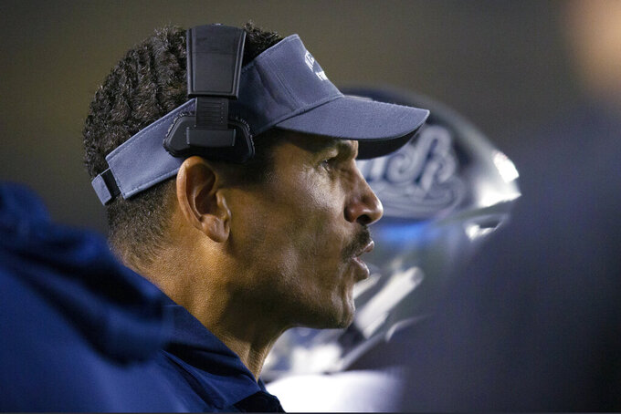 Nevada coach Jay Norvell watches his team take on California during the first quarter of an NCAA college football game Saturday, Sept. 4, 2021, in Berkeley, Calif. (AP Photo/D. Ross Cameron)