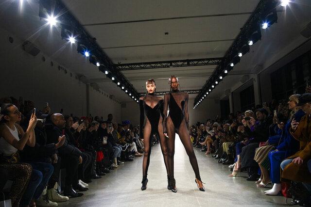 The LaQuan Smith collection is modeled during Fashion Week, Saturday, Feb. 8, 2020, in New York.(AP Photo/Eduardo Munoz Alvarez)