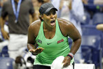 Taylor Townsend, of the United States, reacts after winning the second set against Bianca Andreescu, of Canada, during the fourth round of the U.S. Open tennis tournament, Monday, Sept. 2, 2019, in New York. (AP Photo/Seth Wenig)