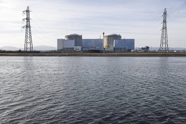 The nuclear complex in Fessenheim, eastern France, Friday Feb. 21, 2020. France is to shut down its oldest nuclear complex by the end of June. The French Prime Minister Edouard Philippe said in a statement on Wednesday that the first phase of the shut-down at Fessenehim, closing one of the reactors, will take place on Saturday. (AP Photo/Jean-François Badias)