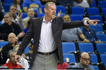 FILE  - Utah head coach Larry Krystkowiak yells from the sidelines during the first half of an NCAA college basketball against Utah game in Los Angeles, in this Sunday, Feb. 2, 2020, file photo. Eight players in head coach Larry Krystkowiak's nine-man rotation in the 2019-20 season are back on the roster. It has Utah feeling confident about taking a leap forward from last season's 8th place finish in the Pac-12 after posting the program's fewest wins in a season since 2013.(AP Photo/Kelvin Kuo, File)