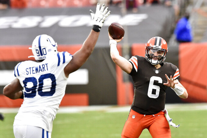 Cleveland Browns quarterback Baker Mayfield (6) throws during the first half of an NFL football game against the Indianapolis Colts, Sunday, Oct. 11, 2020, in Cleveland. (AP Photo/David Richard)