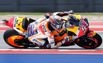 Marc Marquez (93), of Spain, leans through a turn during a qualifying for the Grand Prix of the Americas motorcycle race at the Circuit of the Americas, Saturday, April 13, 2019, in Austin, Texas. (AP Photo/Eric Gay)