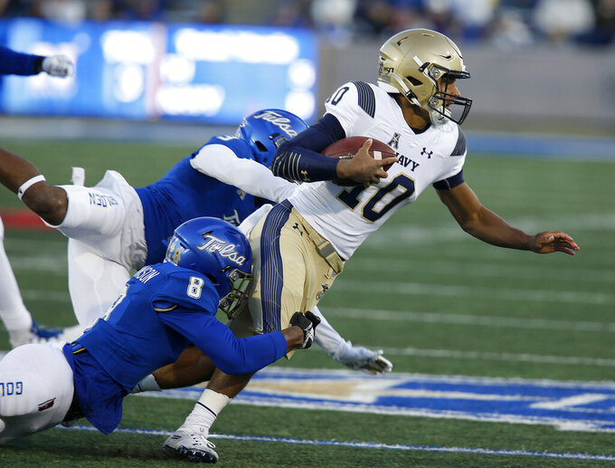 Perry leads Navy over Tulsa 45-17