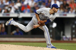Toronto Blue Jays pitcher Steven Matz watches a throw to a New York Mets batter during the third inning of a baseball game Friday, July 23, 2021, in New York. (AP Photo/Adam Hunger)