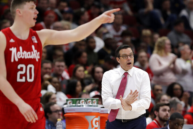 Nebraska head coach Tim Miles argues a call during the second half of an NCAA college basketball game against Wisconsin in the quarterfinals of the Big Ten Conference tournament, Friday, March 15, 2019, in Chicago. Wisconsin won 66-62. (AP Photo/Nam Y. Huh)