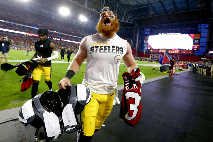 Pittsburgh Steelers inside linebacker Tyler Matakevich leaves the field after an NFL football game against the Arizona Cardinals, Sunday, Dec. 8, 2019, in Glendale, Ariz. The Steelers won 23-17. (AP Photo/Ross D. Franklin)