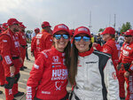 In this photo provided by Chip Ganassi Racing, Chip Ganassi engineer Angela Ashmore, left, and Nicole Rotondo, an engineer with Honda Performance Development, pose after Marcus Ericsson, of Sweden, won the first race of the IndyCar Detroit Grand Prix auto racing doubleheader on Belle Isle in Detroit, Saturday, June 12, 2021. The last three IndyCar races have been won by drivers who have female engineers on their teams, a trend that could continue Sunday at Mid-Ohio Sports Car Course. (Chip Ganassi Racing via AP)