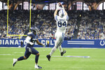 Indianapolis Colts tight end Jack Doyle (84) makes a catch over Tennessee Titans defensive back Amani Hooker (37) during the second half of an NFL football game in Indianapolis, Sunday, Dec. 1, 2019. (AP Photo/AJ Mast)