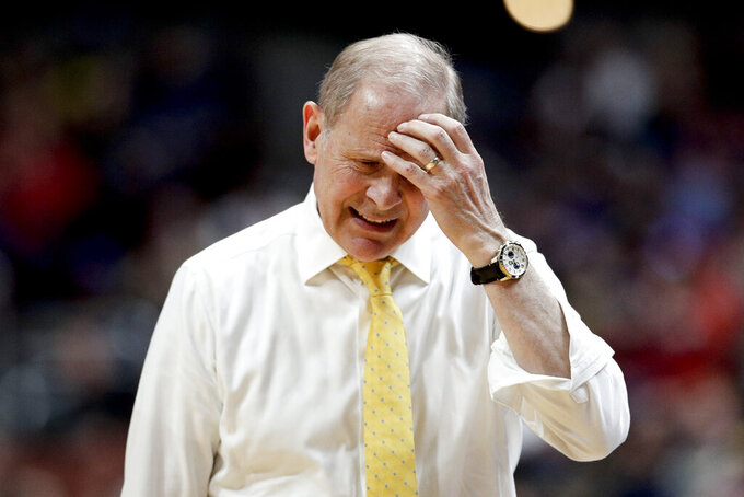 Michigan coach John Beilein reacts during the second half of the team's NCAA men's college basketball tournament West Region semifinal against Texas Tech on Thursday, March 28, 2019, in Anaheim, Calif. (AP Photo/Jae C. Hong)