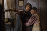 This image released by Focus Features shows Cynthia Erivo as Harriet Tubman, left, and Aria Brooks as Anger in a scene from