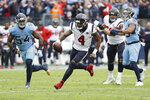 Houston Texans quarterback Deshaun Watson (4) scrambles against the Tennessee Titans in the second half of an NFL football game Sunday, Dec. 15, 2019, in Nashville, Tenn. The Texans won 24-21. (AP Photo/James Kenney)