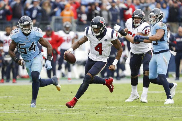 Houston Texans quarterback Deshaun Watson (4) scrambles against the Tennessee Titans in the second half of an NFL football game Sunday, Dec. 15, 2019, in Nashville, Tenn. The Texans won 24-21. (AP Photo/James Kenney)