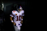 New York Giants' Eli Manning runs onto the field before an NFL football game against the Philadelphia Eagles, Monday, Dec. 9, 2019, in Philadelphia. (AP Photo/Matt Rourke)