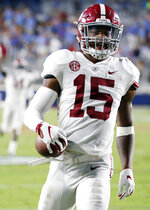 FILE - In this Sept. 15, 2018, file photo, Alabama defensive back Xavier McKinney (15) struts into the end zone after returning an interception 30-yards for a touchdown in the second half of an NCAA college football game against Mississippi in Oxford, Miss. No. 1 Alabama's typically tough defense will be challenged by No. 4 Georgia's offense that enters Saturday's SEC championship game on a roll. (AP Photo/Rogelio V. Solis, File)