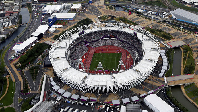 FILE - This is an Aug. 3, 2012, file photo showing the Olympic Stadium in London. Two people familiar with the discussions tell The Associated Press that Major League Baseball is considering one of two matchups for its 2020 series in London: New York Mets vs. Washington Nationals or Chicago Cubs vs. St. Louis Cardinals. The people spoke on condition of anonymity Friday, Feb. 8, 2019, because no announcements had been authorized. An announcement is expected after opening day this year. MLB's first games in Britain are scheduled for this summer, when the World Series champion Boston Red Sox play the New York Yankees at London's Olympic Stadium, June 29-30.  (AP Photo/Jeff J Mitchell, File)