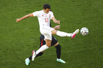 Spain's Eric Garcia kicks the ball during the Euro 2020 soccer championship round of 16 match between Croatia and Spain, at Parken stadium in Copenhagen, Denmark, Monday, June 28, 2021. (Wolfgang Rattay, Pool via AP)