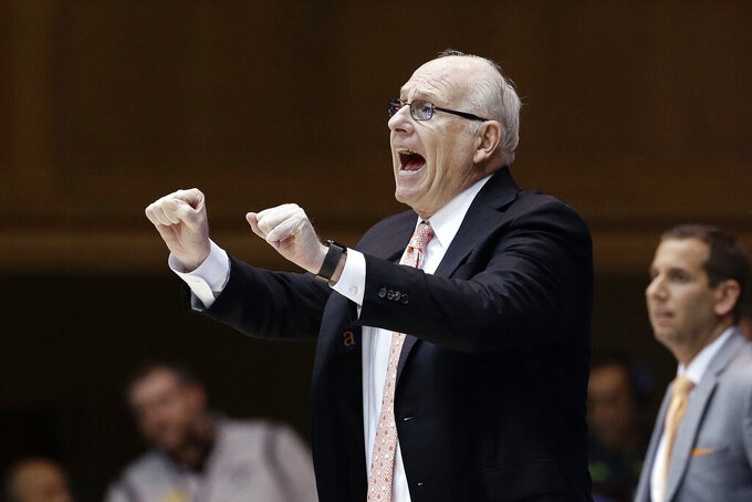 Miami head coach Jim Larranaga directs his players during the second half of an NCAA college basketball game against Duke in Durham, N.C., Tuesday, Jan. 21, 2020. (AP Photo/Gerry Broome)