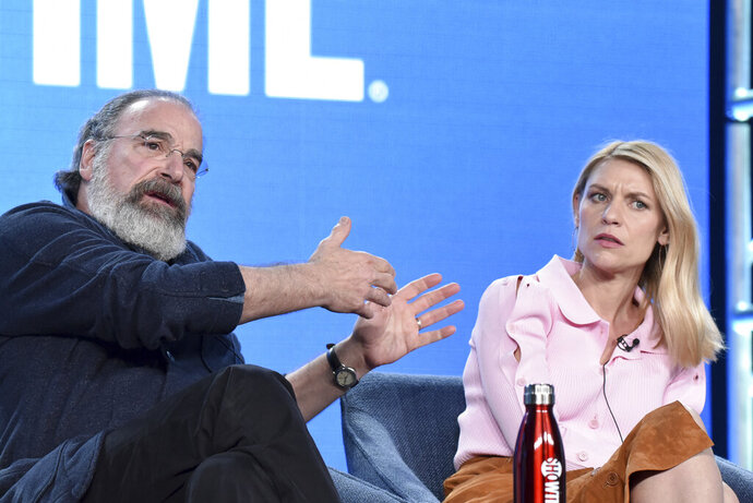 Mandy Patinkin, left, and Claire Danes participate in the Showtime