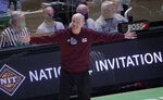 Mississippi State coach Ben Howland reacts during the second half of the team's NCAA college basketball game against Richmond in the semifinals of the NIT, Thursday, March 25, 2021, in Denton, Texas. (AP Photo/Ron Jenkins)