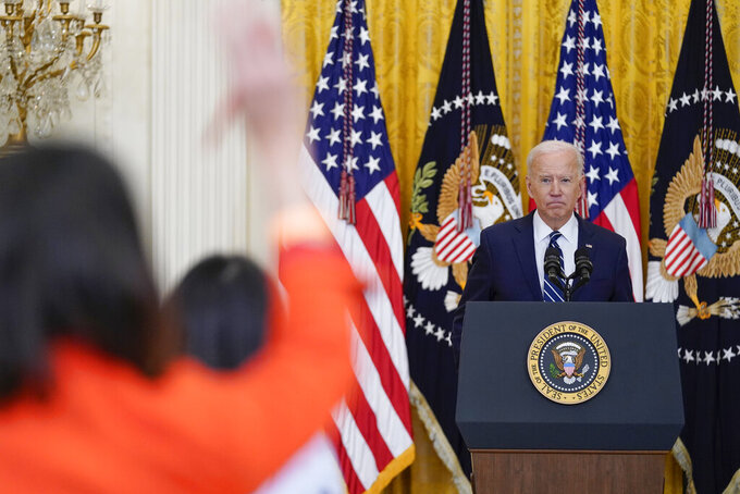 President Joe Biden speaks during a news conference in the East Room of the White House, Thursday, March 25, 2021, in Washington. (AP Photo/Evan Vucci)
