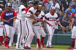 Chicago White Sox's Leury Garcia (28) celebrates his walk-off home run during the ninth inning against the Boston Red Sox of a baseball game, Sunday, Sept. 12, 2021, in Chicago. (AP Photo/David Banks)