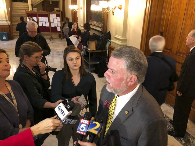 House Appropriations Committee Chairman Terry England speaks to reporters Tuesday, Feb. 18, 2020, at the Georgia Capitol in Atlanta, after his committee passed an amended midyear budget. The spending plan shifts tens of millions to lawmakers' priorities from Gov. Brian Kemp's plan (AP Photo/Jeff Amy)