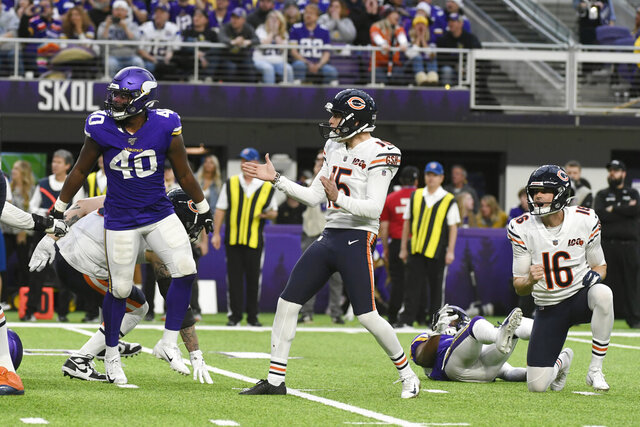Chicago Bears kicker Eddy Pineiro (15) celebrates after kicking a 22-yard field goal near the end of an NFL football game against the Minnesota Vikings, Sunday, Dec. 29, 2019, in Minneapolis. The Bears won 21-19. (AP Photo/Craig Lassig)