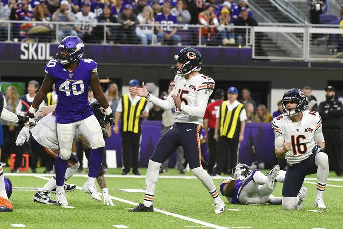 Chicago Bears kicker Eddy Pineiro (15) celebrates after kicking a 22-yard field goal near the end of an NFL football game against the Minnesota Vikings, Sunday, Dec. 29, 2019, in Minneapolis. The Bears won 21-19. (AP Photo/Craig Lassig)