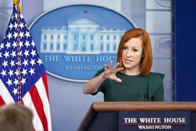 White House press secretary Jen Psaki speaks during the daily briefing at the White House in Washington, Wednesday, June 23, 2021. (AP Photo/Susan Walsh)